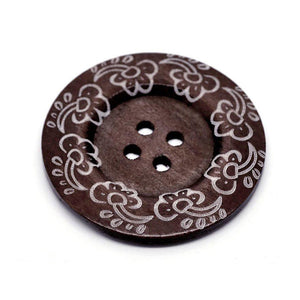 "Extra large button - 3 wooden button 60mm (2 3/8"") - wildflowers pattern"
