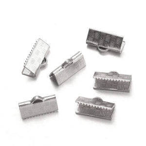 10 Stainless steel ribbon ends 13 or 25mm - 0.5 or 1 inch silver ribbon end crimps
