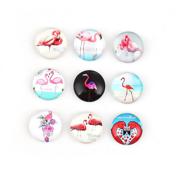 12mm mixed flamingo glass cabochons - set of 30 round dome cabochons