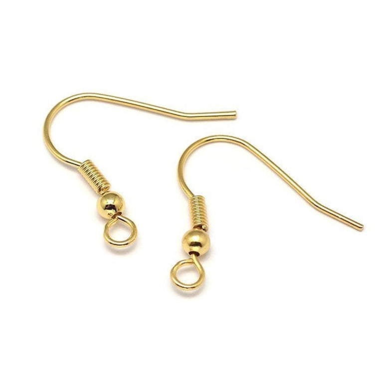 10 Brass earring hooks - Gold - Nickel free, lead free and cadmium free earwire