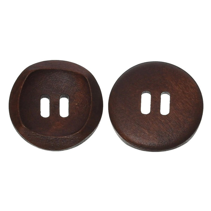 1 inch Brown wooden sewing buttons - set of 6 natural wood button 25mm