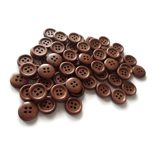 Wholesale Wooden buttons - Brown 4 Holes Wood Sewing Buttons 15mm - set of 60