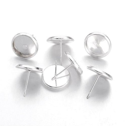 Brass stud earring settings, 8 or 10mm tray, silver. Nickel free, lead free and cadmium free
