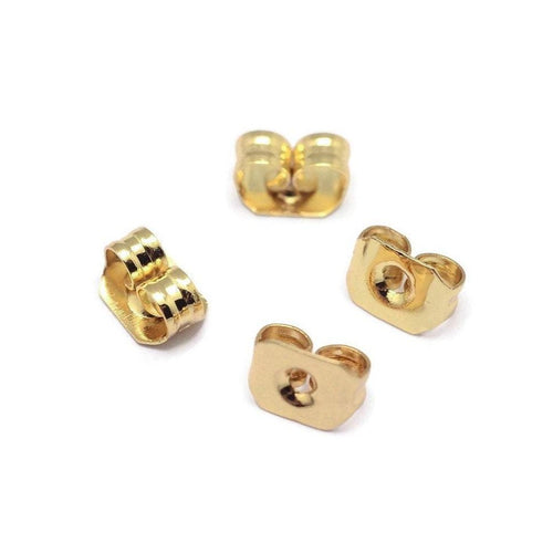 10 Grade AAA brass ear nuts, Gold earring back stopper butterfly hypoallergenic 5mm. Nickel free, lead free and cadmium free