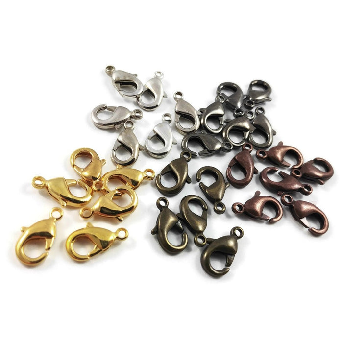 Brass lobster clasp hypoallergenic 12mm x 7mm - Nickel free, lead free and cadmium free - 5 colors available