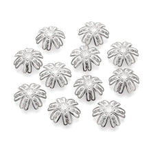 Load image into Gallery viewer, Flower bead caps hypoallergenic stainless steel 14mm beadcaps