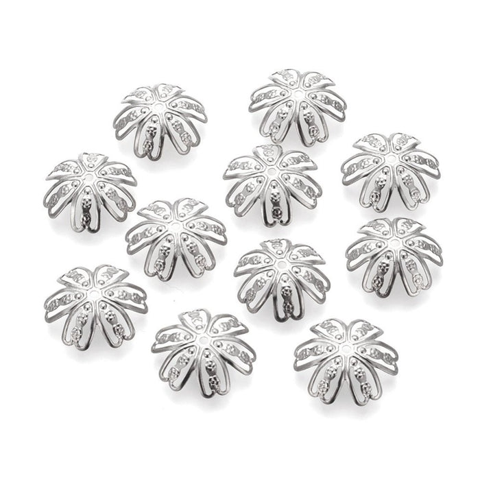 Flower bead caps hypoallergenic stainless steel 14mm beadcaps