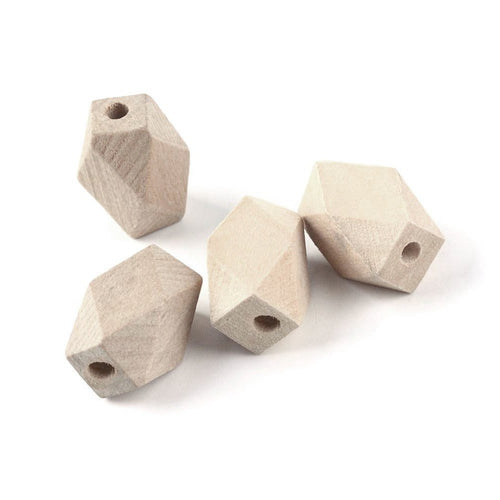 6 Faceted barrel unfinished wood beads 16x10mm