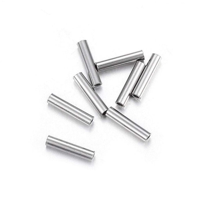 10 Stainless Steel Tube Beads 7mm
