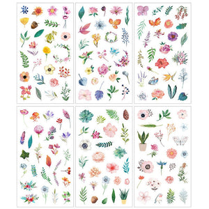 Flowers and foliage sticker set - 6 sheets