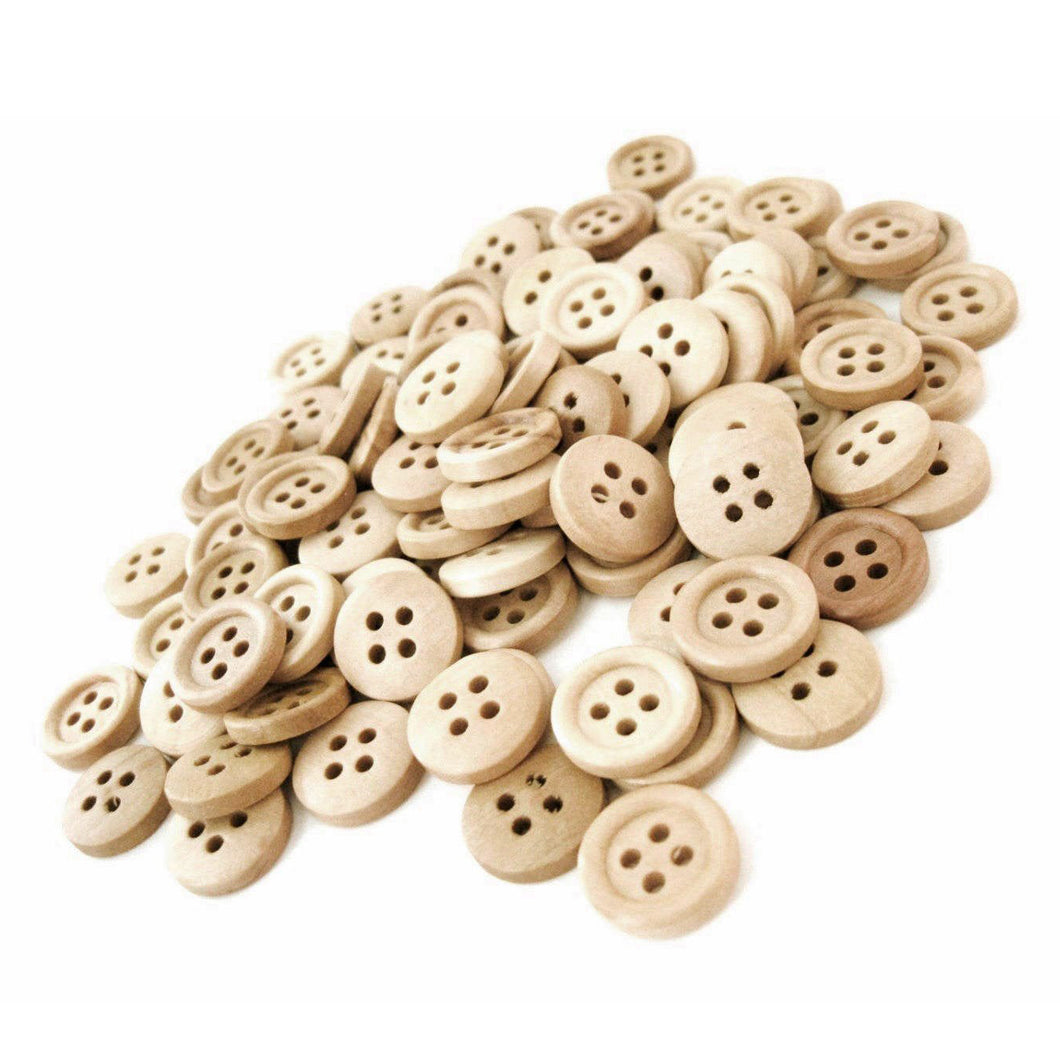 Wholesale Wooden buttons - Natural 4 Holes Wood Sewing Buttons 15mm - set of 60