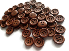 Load image into Gallery viewer, Wholesale Wooden buttons - Brown 4 Holes Wood Sewing Buttons 15mm - set of 60