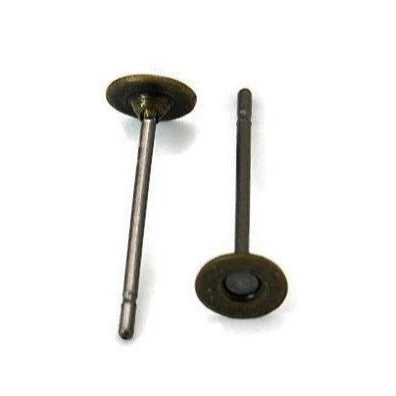 50 Earring stud posts, 4mm pad, antique bronze. Nickel free, lead free and cadmium free