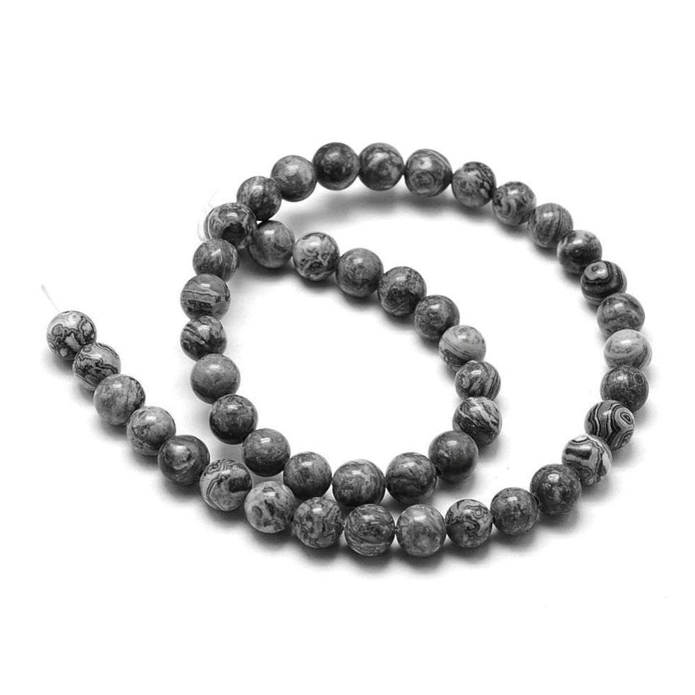 Natural Map Stone Round Beads Strands 4, 6 or 8mm - Grey