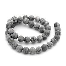 Load image into Gallery viewer, Frosted Natural Map Stone Round Beads Strands 6 or 8mm - Grey