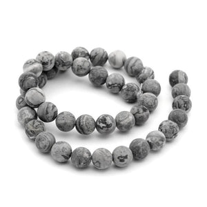 Frosted Natural Map Stone Round Beads Strands 6 or 8mm - Grey