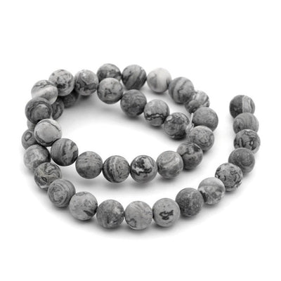 Frosted Natural Map Stone Round Beads 1 Strand 6 or 8mm - Grey