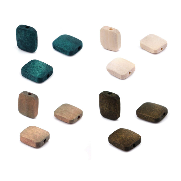 6 rectangle wood beads 13x11mm - Emerald green, natural, beige and brown