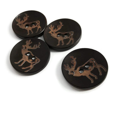 4 Brown Wooden Buttons 35mm -  Rustic Elk