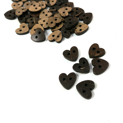 10 Brown Coconut Shell Buttons 10mm -  Heart shape