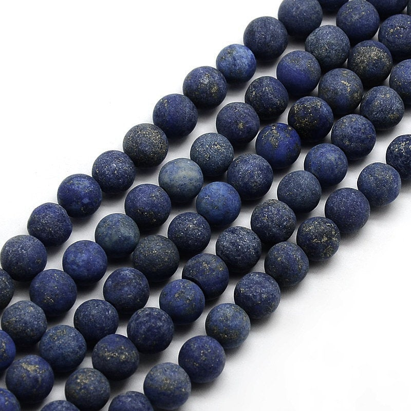Frosted Natural Lapis Lazuli Round Beads Strands 4, 6 or 8mm - Blue