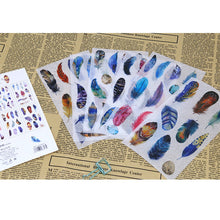 Load image into Gallery viewer, Feather sticker set - 6 sheets
