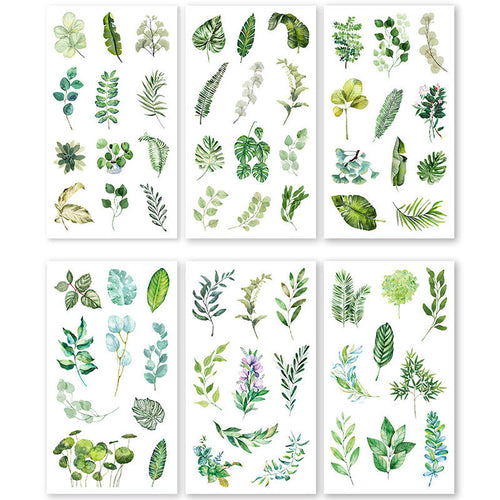 Green foliage sticker set - 6 sheets