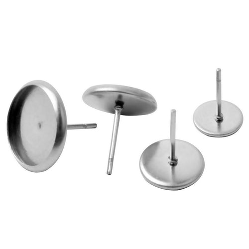 10 Stainless steel ear stud cabochon settings - fits 6, 8, 10 or 12mm cabochons