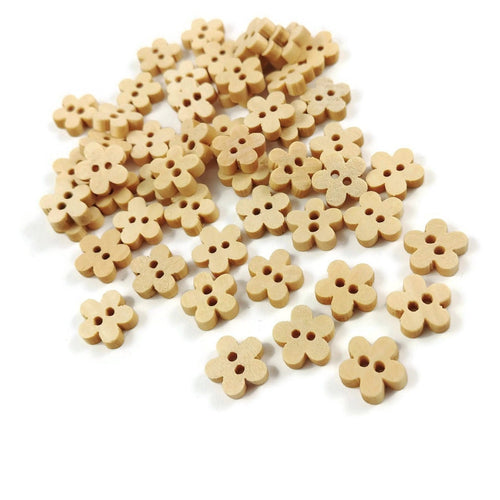 11mm Tiny Wooden Flower Shape Sewing Sew On Buttons Set of 12