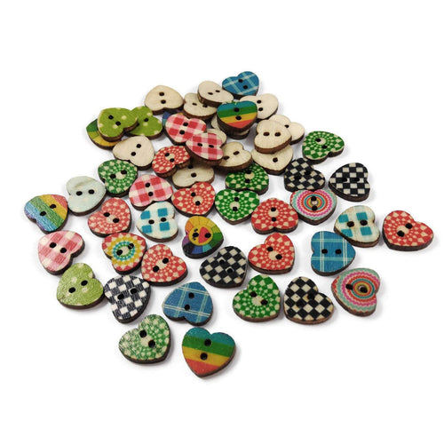 Hearts shapes 25 Mixed Colors Buttons - Wood sewing buttons 15mm