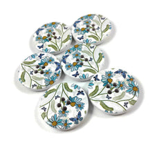 Load image into Gallery viewer, White and Flower Pattern Wooden Sewing Button 30mm - set of 6 wood buttons
