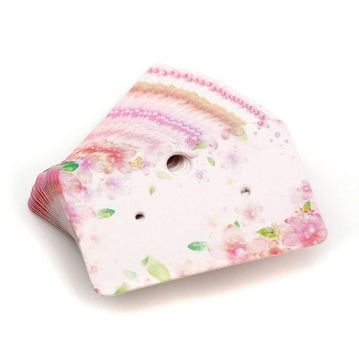 Paper Ear Studs Hang Tag Jewelry Display Card Earring - 2 inches pink flower pattern rectangular cards