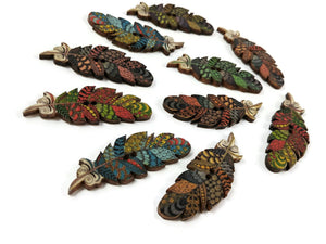Boho feather wood sewing buttons - 6 Mixed Patterns scrapbooking buttons