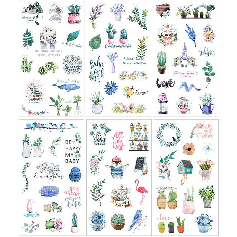 Plants and cute animals sticker set - 6 sheets