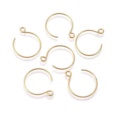 10pcs gold stainless steel round earring hooks 24x19mm