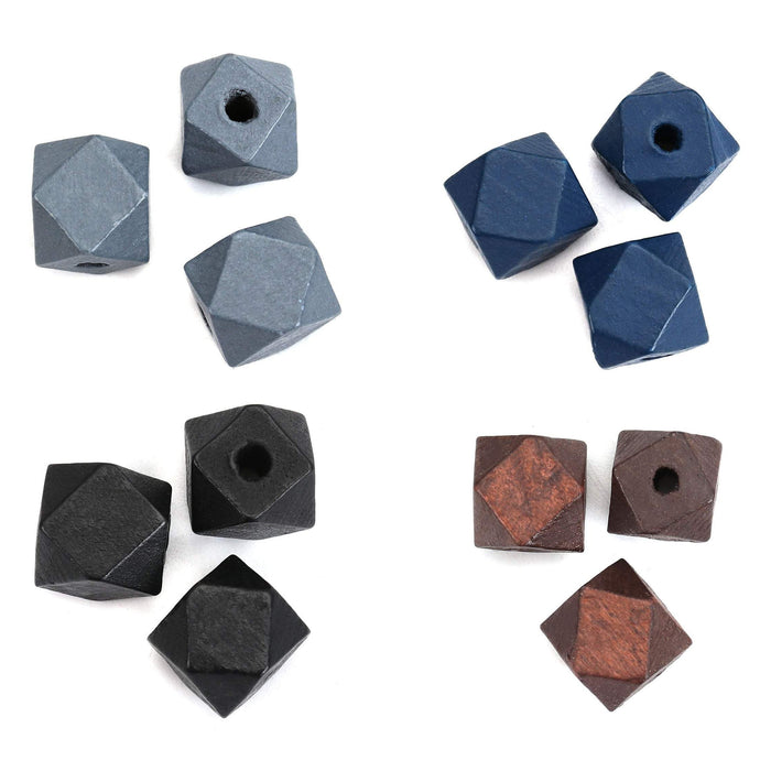 10 Faceted hexagon wood beads 12mm - Gray, blue, black and brown