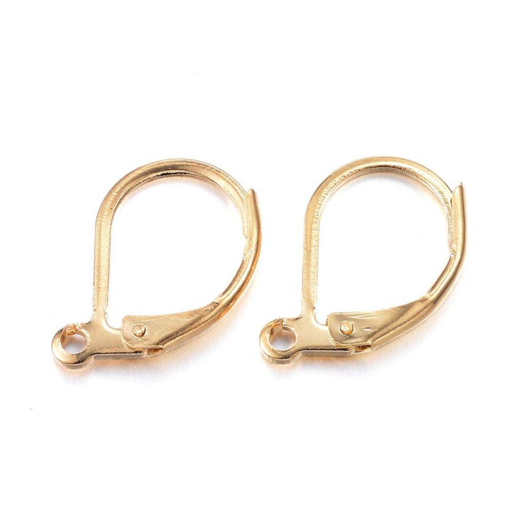 Gold stainless lever back hoop earring hooks 10pcs (5 pairs) Hypoallergenic