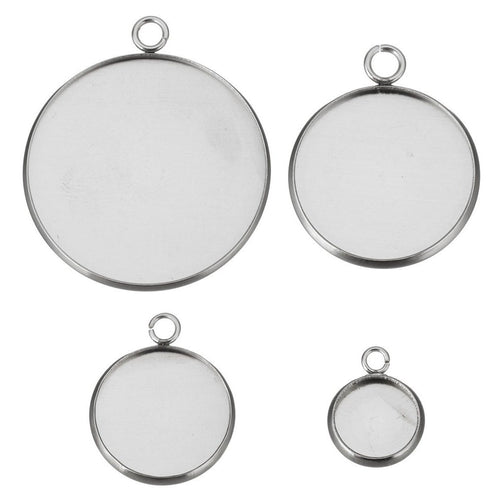 Stainless steel pendant cabochon settings, flat round, 16, 18, 20, 25 or 30mm tray
