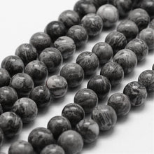 Load image into Gallery viewer, Natural Map Stone Round Beads Strands 4, 6 or 8mm - Grey