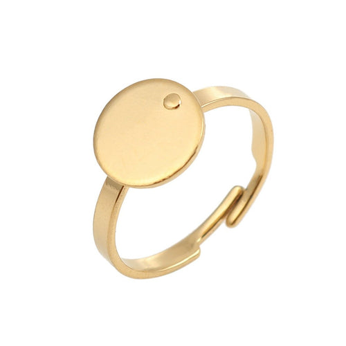Gold stainless steel adjustable rings round 10mm settings - Hypoallergenic