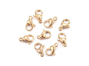 Gold stainless steel lobster clasp hypoallergenic - 3 sizes available