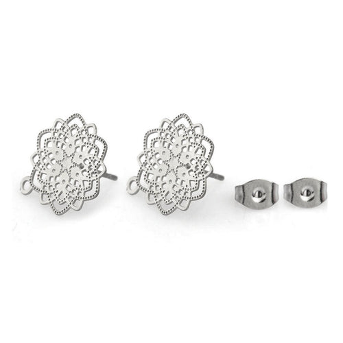 Flower earstuds, 5 pairs stainless steel earring studs with loop, Hypoallergenic