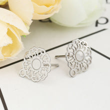 Load image into Gallery viewer, 11mm flower earstuds, 5 pairs stainless steel earring studs with loop, Hypoallergenic