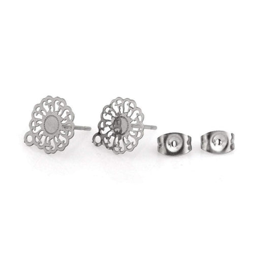11mm flower earstuds, 5 pairs stainless steel earring studs with loop, Hypoallergenic