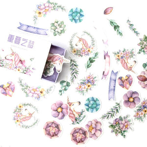 Unicorn and flowers sticker pack - 40 cute stickers