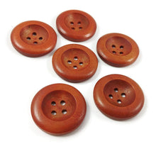 Load image into Gallery viewer, 1 inch wooden buttons 6x reddish brown wooden buttons