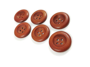 1 inch wooden buttons 6x reddish brown wooden buttons