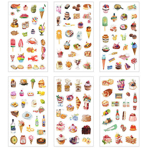 Cakes and food sticker set - 6 sheets