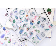 Load image into Gallery viewer, Plants and cute animals sticker set - 6 sheets
