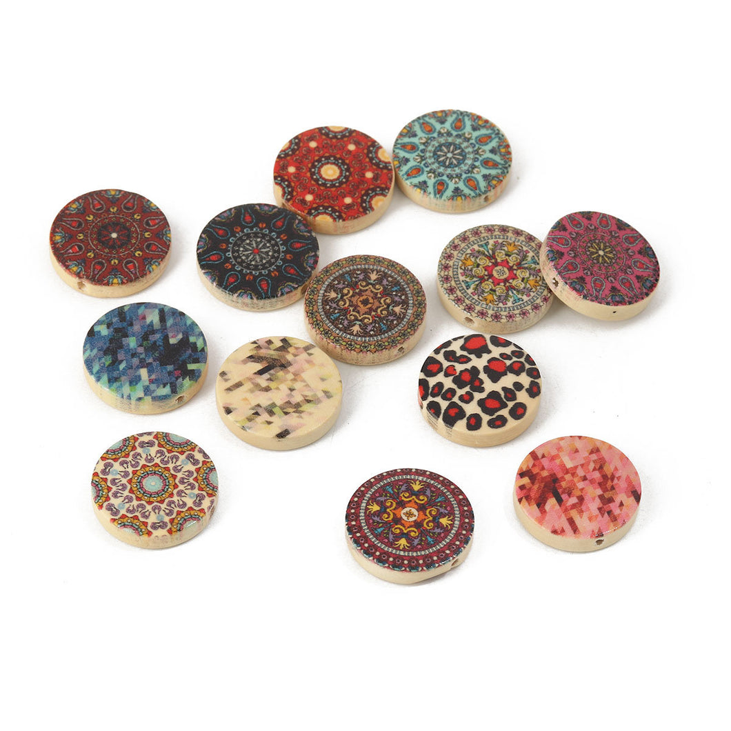 Mixed pattern wooden beads flat round 20mm - 15 pces